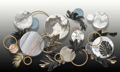 3D Фотообои «Золотые листья с мраморными кругами»