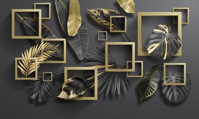3D Фотообои «Листья с золотыми квадратами»