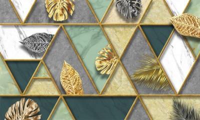 3D Фотообои «Геометрическая аппликация с листьями»