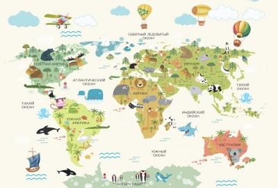 3D Фотообои «Карта с воздушными шарами»