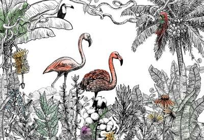 3D Фотообои «Фламинго с яркими акцентами»