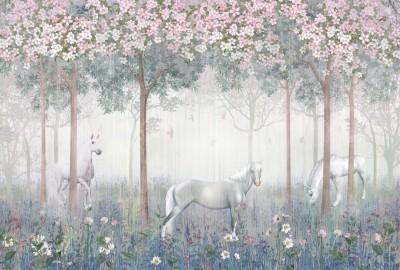 Фотообои «Лошади в цветущем саду»