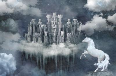 Фотообои «Ночной облачный замок»
