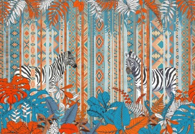 3D Фотообои «Этнические зебры»
