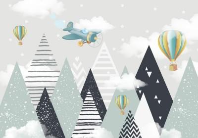 Фотообои «Геометрические горы с воздушными шарами»