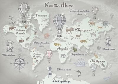 Фотообои «Стильная карта мира в серых тонах»