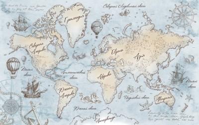 Фотообои «Эскизная карта мира»