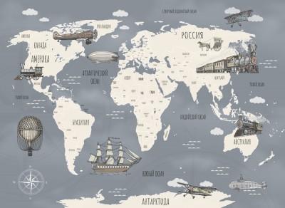 Фотообои «Ретро карта мира»