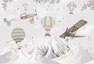 3D Фотообои «Полеты над заснеженными горами»