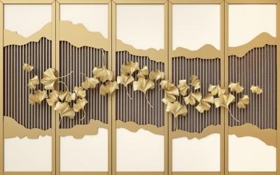 3D Фотообои «Стена с золотой декорацией»