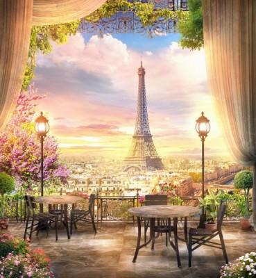 3D Фотообои «Парижский ресторанчик»