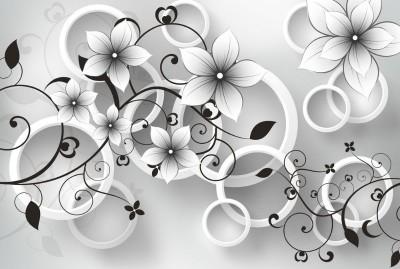 3D Фотообои «Серые цветы»