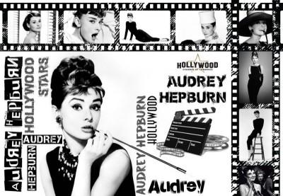 3D Фотообои «Одри Хепбёрн коллаж»