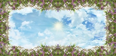 3D Фотообои «Небесная роспись на потолок»