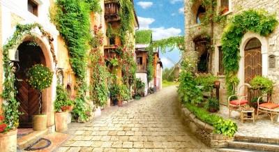 3D Фотообои «Зеленая улочка»