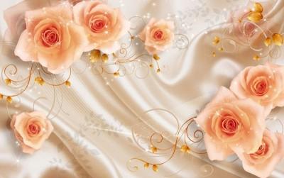 3D Фотообои «Бежевые розы на шелке»