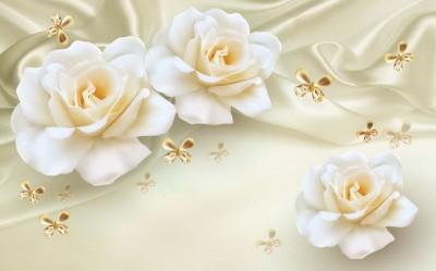 3D Фотообои «Розы на бежевом шелке»