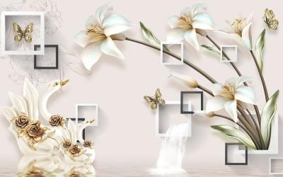 3D Фотообои «Лилии с лебедями на объемном фоне»