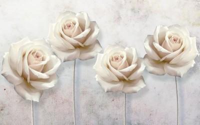 3D Фотообои «Прекрасные розы на холсте»