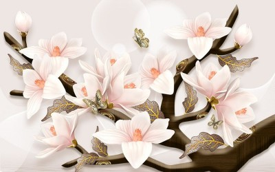 3D Фотообои «Шикарная магнолия с бабочками»