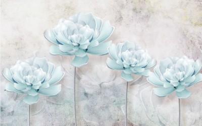 3D Фотообои «Нежно-голубые керамические пионы»