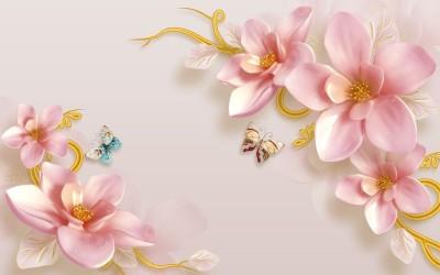 3D Фотообои «Фарфоровые магнолии с бабочками»