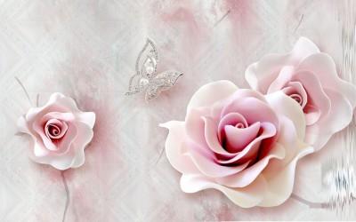 3D Фотообои «Розы с ювелирной бабочкой»