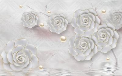 3D Фотообои «Нежные керамические цветы с золотом»