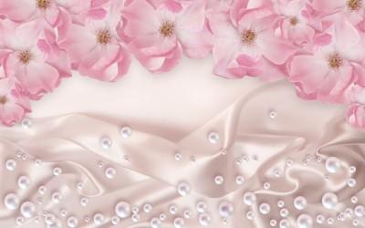 3D Фотообои «Цветочная арка с розовым жемчугом»