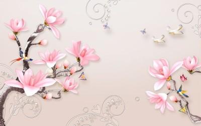 3D Фотообои «Серебристые ветви розовых магнолий»
