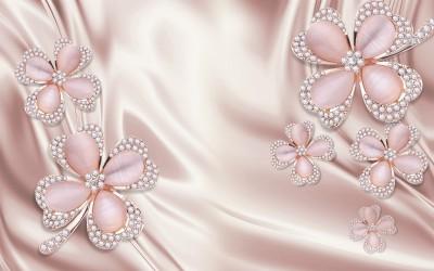 3D Фотообои «Клевер с бриллиантами в нежно-розовых тонах»