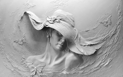3D Фотообои «Барельеф женщина в шляпе»