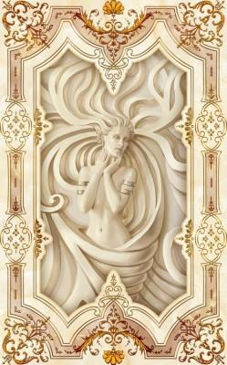 3D Фотообои «Рельефная девушка с орнаментом»