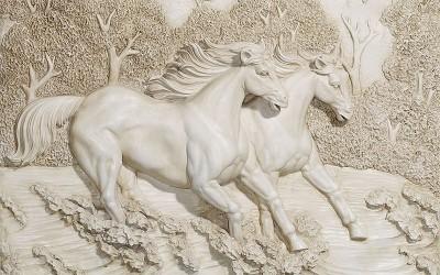 3D Фотообои  «Лошади на рельефном фоне»
