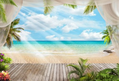 3D Фотообои «Мостик на пляже»