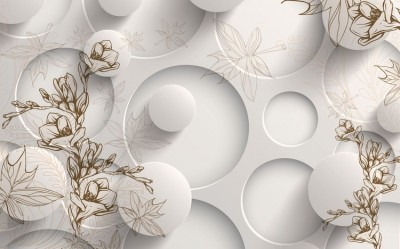 3D Фотообои «Объемные круги с цветочным узором»