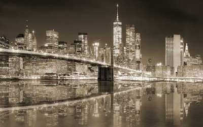 3D Фотообои «Бруклинский мост сепия»