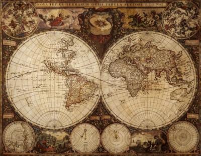 3D Фотообои  «Карта мира для кабинета»