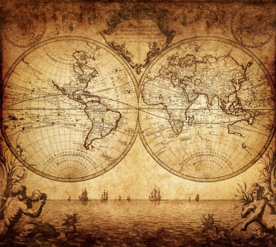 3D Фотообои «Старинная карта мира»