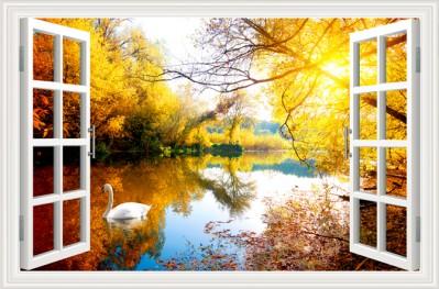 3D Фотообои  «Вид из окна на озеро с лебедями»