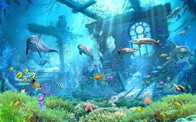 3D Фотообои «Подводные развалины»