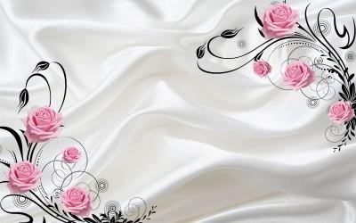 3D Фотообои  «Розы на шелке»