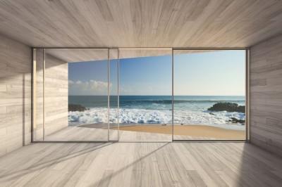 3D Фотообои «Вид из окна на прибой»