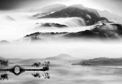 3D Фотообои «Японские мотивы: Туман над озером»