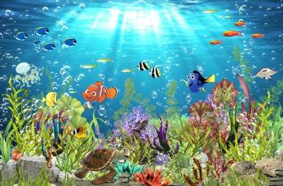 3D Фотообои «Забавные рыбки»