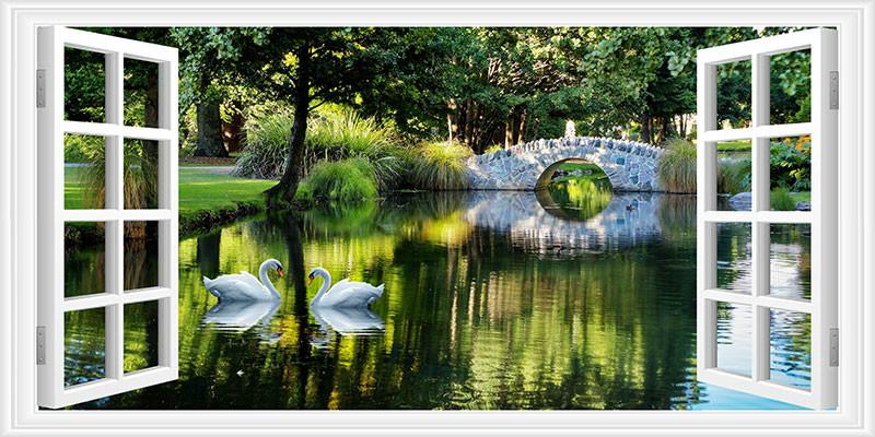 3D Фотообои Вид из окна на пруд с лебедями<br>kit: None; gender: None;