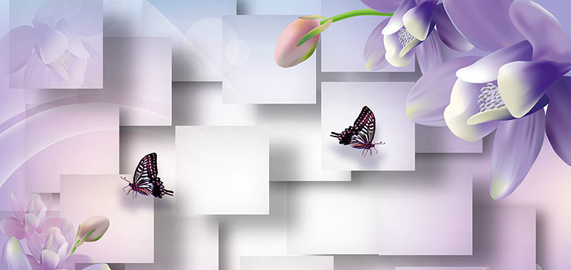 3D Фотообои Сиреневые цветы с бабочками<br>kit: None; gender: None;