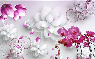 Объемные фиолетовые цветы