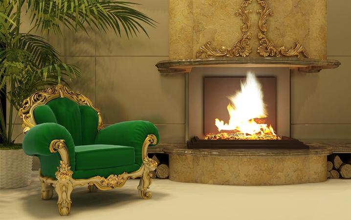 3D Фотообои  Камин в аристократичном доме<br>kit: None; gender: None;