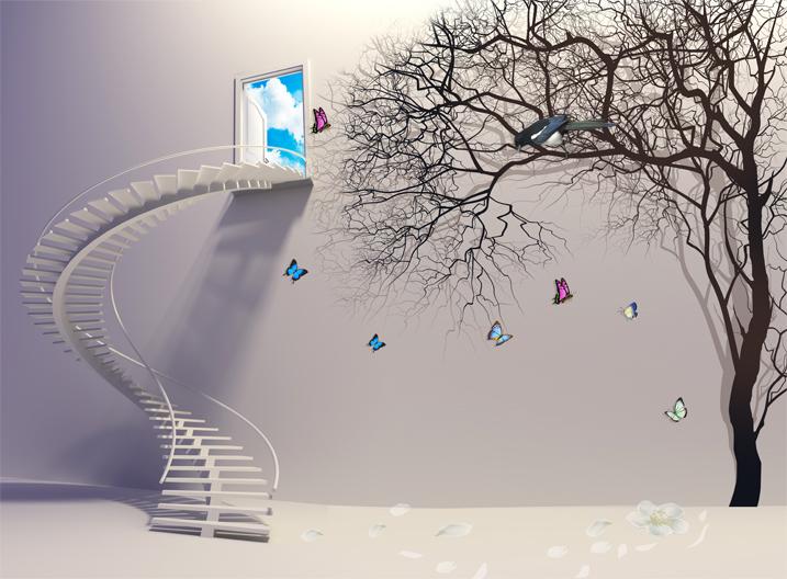 """3D Фотообои  """"Лестница в небо"""""""